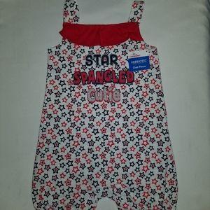 Romper Bodysuit 24M 1 Pc Patriotic Stars Girls New